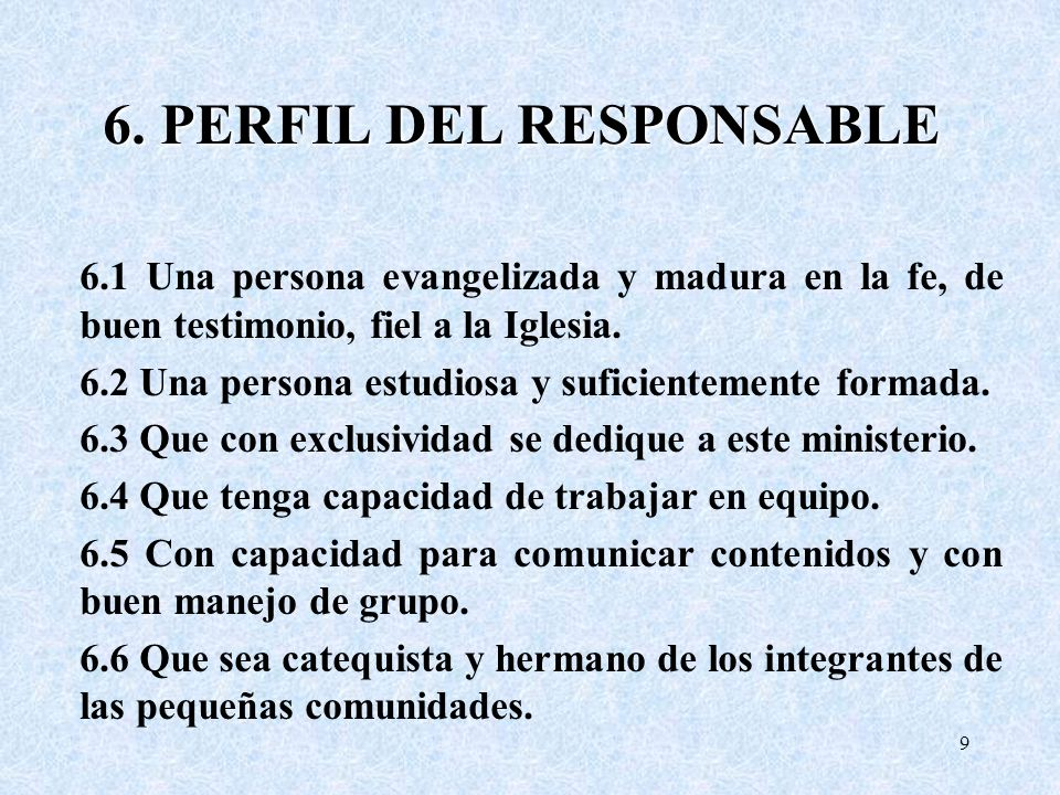 6. PERFIL DEL RESPONSABLE 6.1 Una persona evangelizada y madura en la fe, de buen testimonio, fiel a la Iglesia. 6.2 Una persona estudiosa y suficient