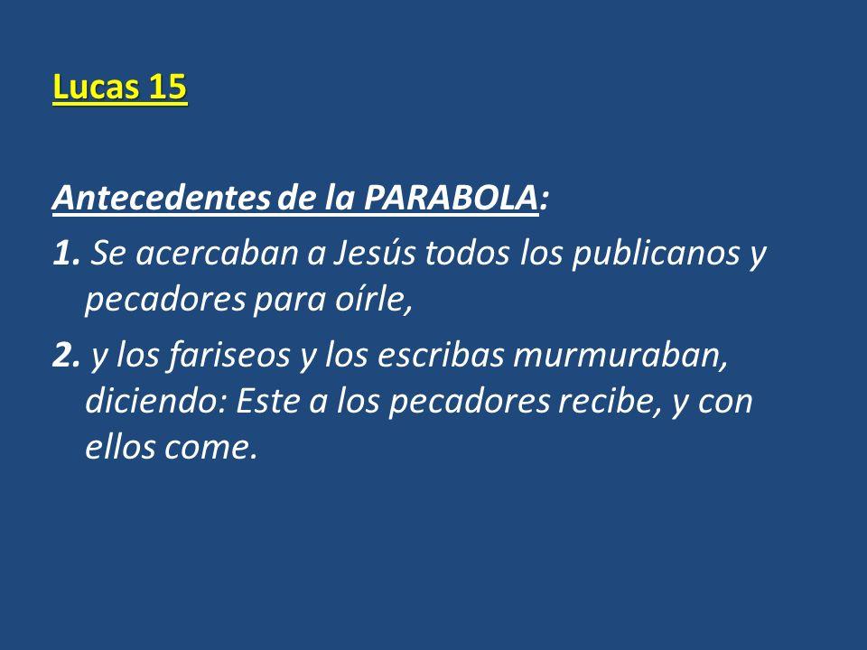 Lucas 15 Antecedentes de la PARABOLA: 1. Se acercaban a Jesús todos los publicanos y pecadores para oírle, 2. y los fariseos y los escribas murmuraban