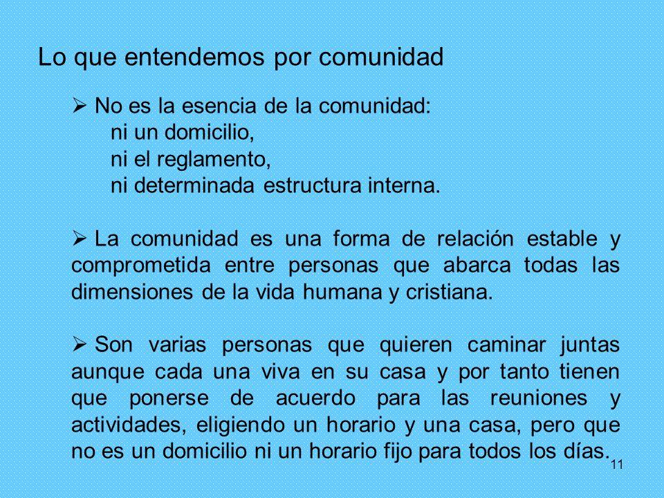 11 Lo que entendemos por comunidad No es la esencia de la comunidad: ni un domicilio, ni el reglamento, ni determinada estructura interna. La comunida