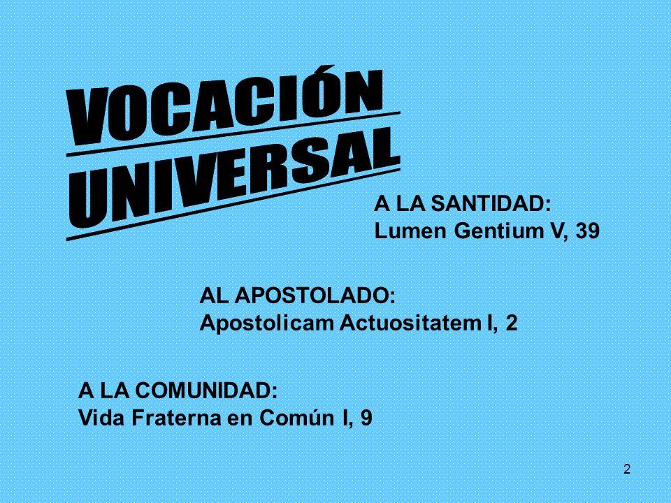 2 A LA SANTIDAD: Lumen Gentium V, 39 AL APOSTOLADO: Apostolicam Actuositatem I, 2 A LA COMUNIDAD: Vida Fraterna en Común I, 9