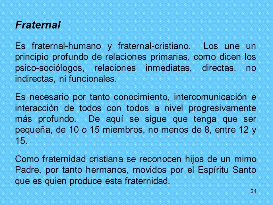 24 Fraternal Es fraternal-humano y fraternal-cristiano. Los une un principio profundo de relaciones primarias, como dicen los psico-sociólogos, relaci