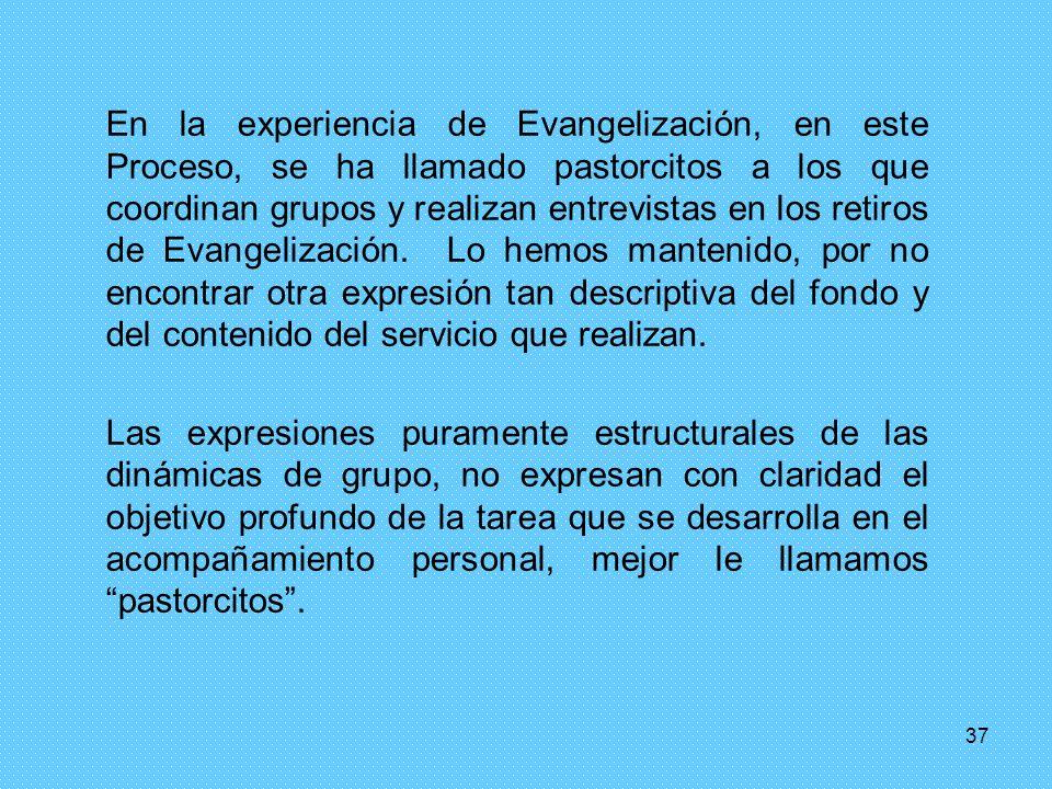 37 En la experiencia de Evangelización, en este Proceso, se ha llamado pastorcitos a los que coordinan grupos y realizan entrevistas en los retiros de