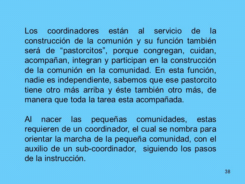 38 Los coordinadores están al servicio de la construcción de la comunión y su función también será de pastorcitos, porque congregan, cuidan, acompañan