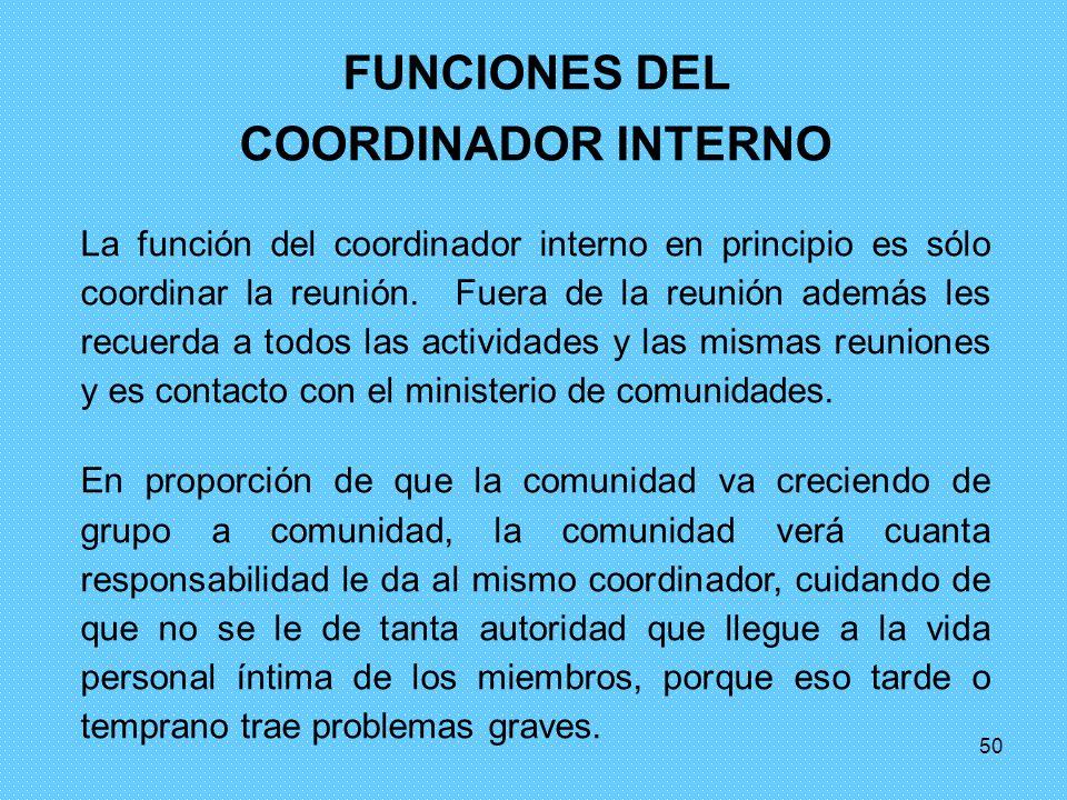 50 FUNCIONES DEL COORDINADOR INTERNO La función del coordinador interno en principio es sólo coordinar la reunión. Fuera de la reunión además les recu