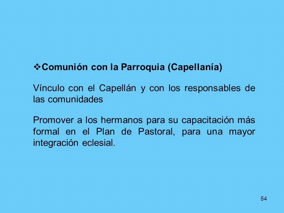 54 Comunión con la Parroquia (Capellanía) Vínculo con el Capellán y con los responsables de las comunidades Promover a los hermanos para su capacitaci