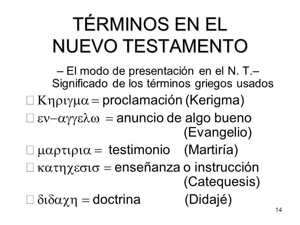 14 TÉRMINOS EN EL NUEVO TESTAMENTO –El modo de presentación en el N.