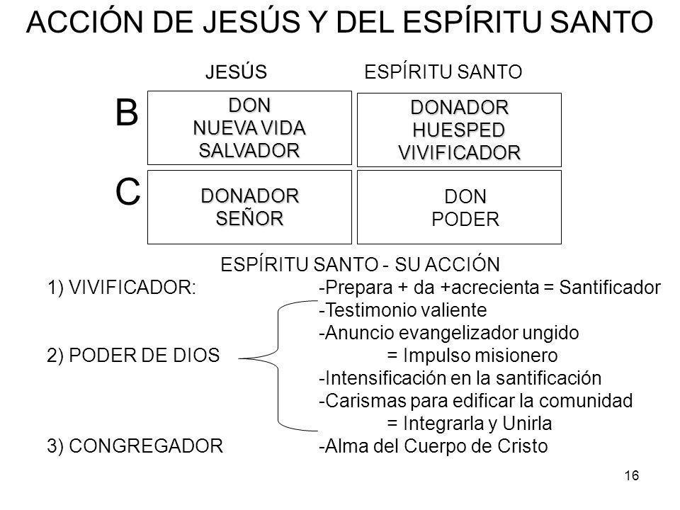 16 ESPÍRITU SANTO - SU ACCIÓN 1) VIVIFICADOR: -Prepara + da +acrecienta = Santificador -Testimonio valiente -Anuncio evangelizador ungido 2) PODER DE DIOS= Impulso misionero -Intensificación en la santificación -Carismas para edificar la comunidad = Integrarla y Unirla 3) CONGREGADOR-Alma del Cuerpo de Cristo DONADORHUESPEDVIVIFICADOR ESPÍRITU SANTO DONPODER DONADORSEÑOR DON NUEVA VIDA SALVADOR JESÚS B C ACCIÓN DE JESÚS Y DEL ESPÍRITU SANTO