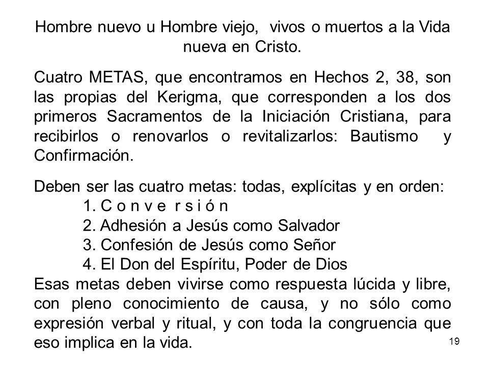 19 Hombre nuevo u Hombre viejo, vivos o muertos a la Vida nueva en Cristo.