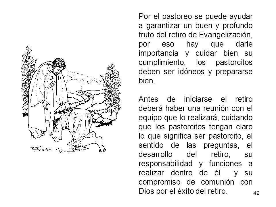 49 Por el pastoreo se puede ayudar a garantizar un buen y profundo fruto del retiro de Evangelización, por eso hay que darle importancia y cuidar bien su cumplimiento, los pastorcitos deben ser idóneos y prepararse bien.