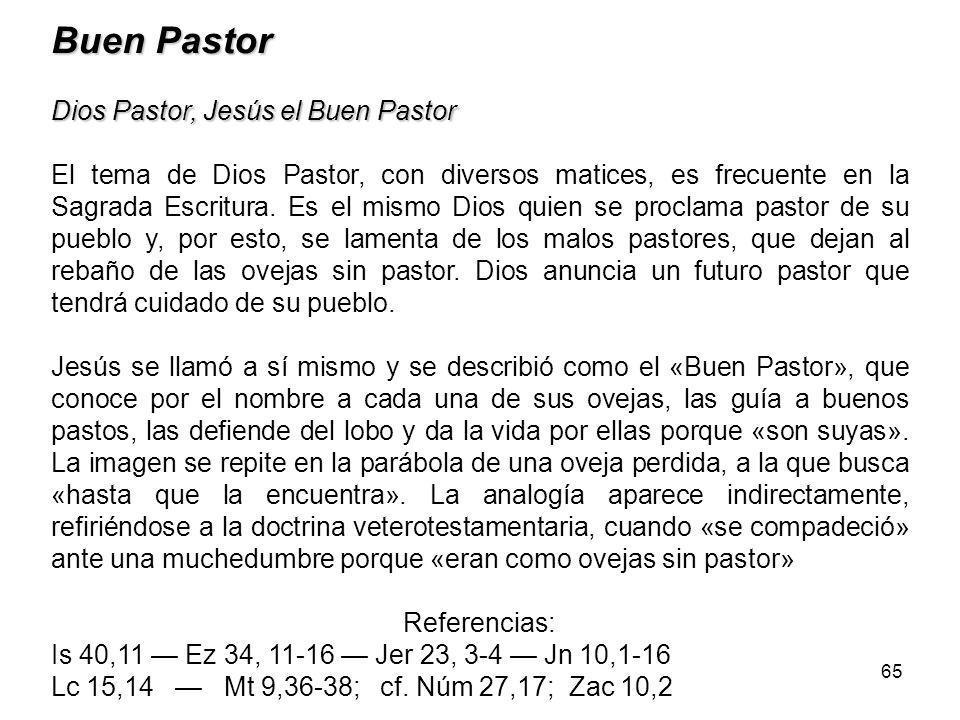 65 Buen Pastor Dios Pastor, Jesús el Buen Pastor El tema de Dios Pastor, con diversos matices, es frecuente en la Sagrada Escritura.