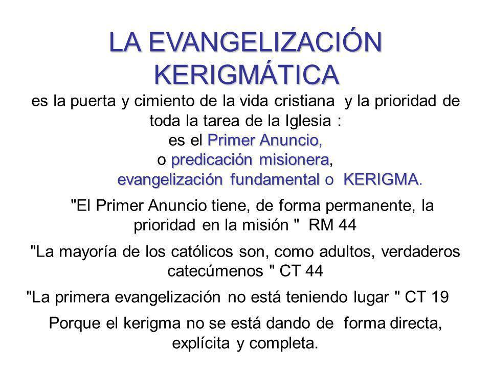 LA EVANGELIZACIÓN KERIGMÁTICA es la puerta y cimiento de la vida cristiana y la prioridad de toda la tarea de la Iglesia : Primer Anuncio es el Primer Anuncio, predicación misionera o predicación misionera, evangelización fundamentalKERIGMA evangelización fundamental o KERIGMA.