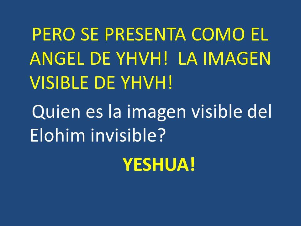 PERO SE PRESENTA COMO EL ANGEL DE YHVH! LA IMAGEN VISIBLE DE YHVH! Quien es la imagen visible del Elohim invisible? YESHUA!