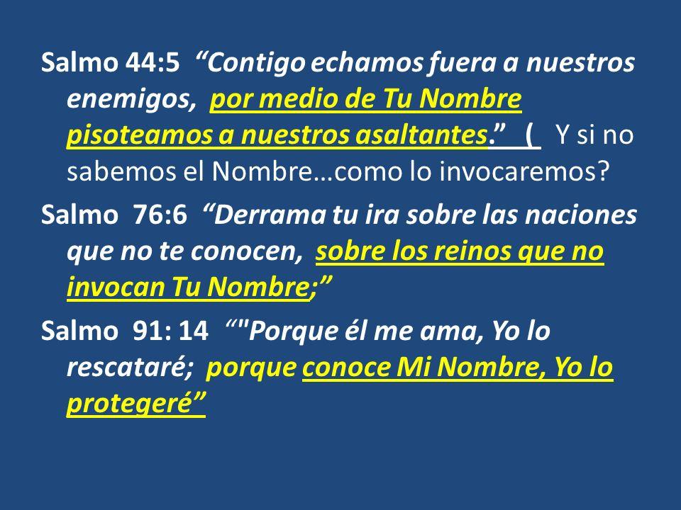 Salmo 44:5 Contigo echamos fuera a nuestros enemigos, por medio de Tu Nombre pisoteamos a nuestros asaltantes. ( Y si no sabemos el Nombre…como lo inv