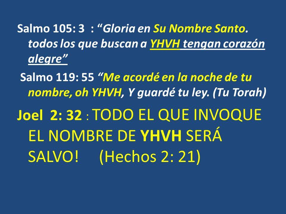 Salmo 105: 3 : Gloria en Su Nombre Santo. todos los que buscan a YHVH tengan corazón alegre Salmo 119: 55 Me acordé en la noche de tu nombre, oh YHVH,