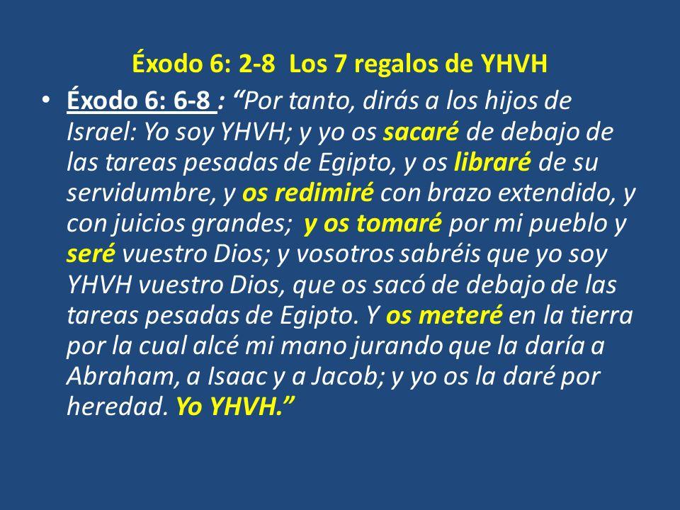 Éxodo 6: 2-8 Los 7 regalos de YHVH Éxodo 6: 6-8 : Por tanto, dirás a los hijos de Israel: Yo soy YHVH; y yo os sacaré de debajo de las tareas pesadas