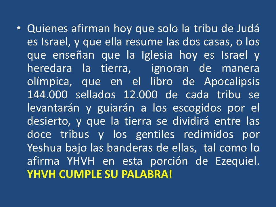 Quienes afirman hoy que solo la tribu de Judá es Israel, y que ella resume las dos casas, o los que enseñan que la Iglesia hoy es Israel y heredara la