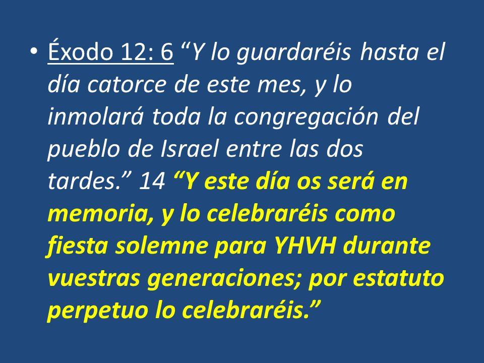 Éxodo 12: 6 Y lo guardaréis hasta el día catorce de este mes, y lo inmolará toda la congregación del pueblo de Israel entre las dos tardes. 14 Y este