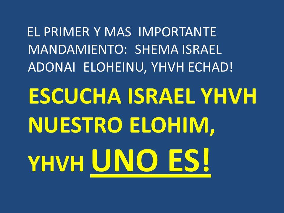 EL PRIMER Y MAS IMPORTANTE MANDAMIENTO: SHEMA ISRAEL ADONAI ELOHEINU, YHVH ECHAD! ESCUCHA ISRAEL YHVH NUESTRO ELOHIM, YHVH UNO ES!