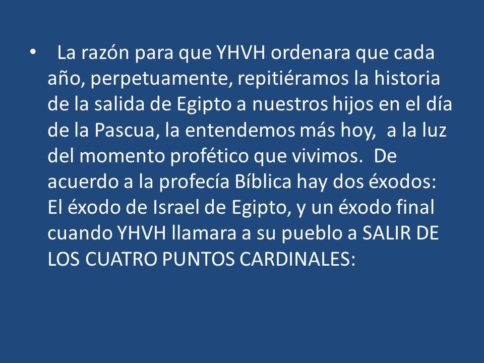La razón para que YHVH ordenara que cada año, perpetuamente, repitiéramos la historia de la salida de Egipto a nuestros hijos en el día de la Pascua,