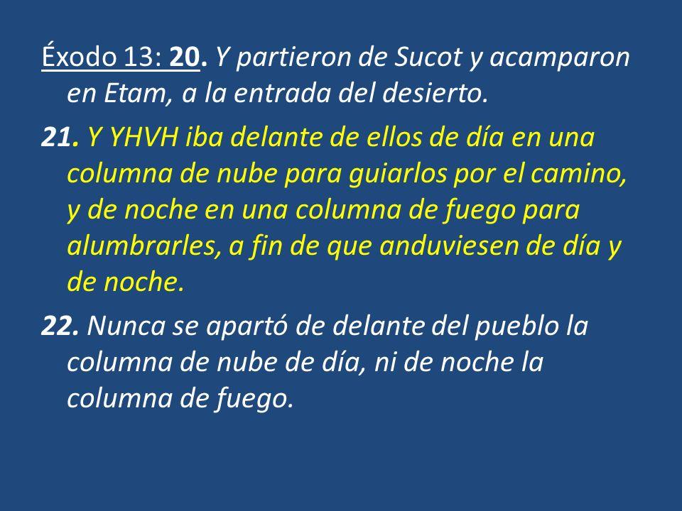 Éxodo 13: 20. Y partieron de Sucot y acamparon en Etam, a la entrada del desierto. 21. Y YHVH iba delante de ellos de día en una columna de nube para