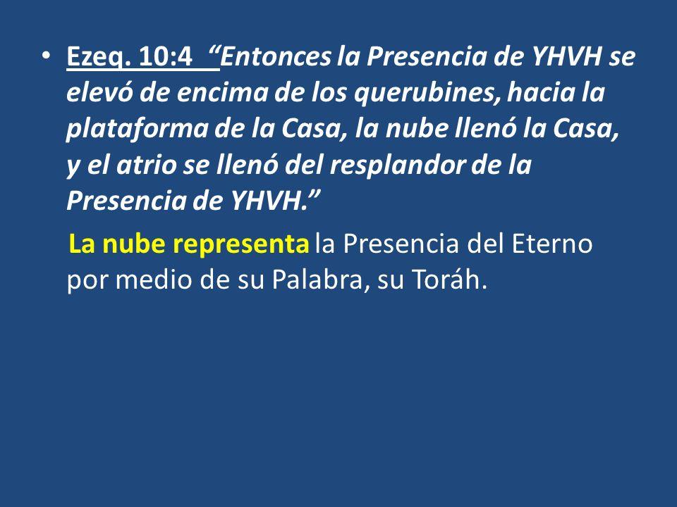 Ezeq. 10:4 Entonces la Presencia de YHVH se elevó de encima de los querubines, hacia la plataforma de la Casa, la nube llenó la Casa, y el atrio se ll