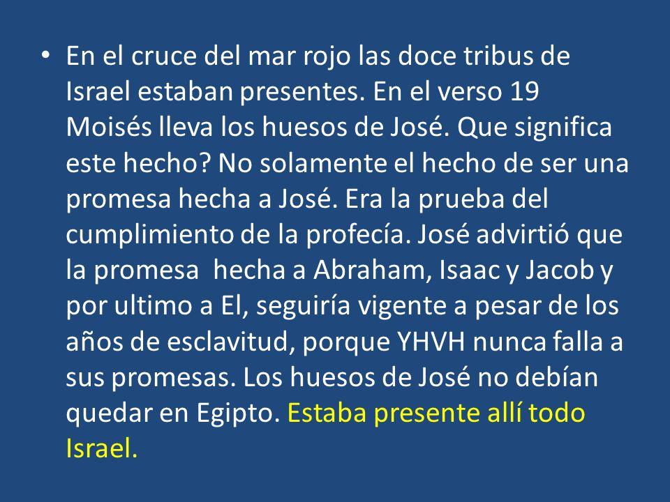 En el cruce del mar rojo las doce tribus de Israel estaban presentes. En el verso 19 Moisés lleva los huesos de José. Que significa este hecho? No sol
