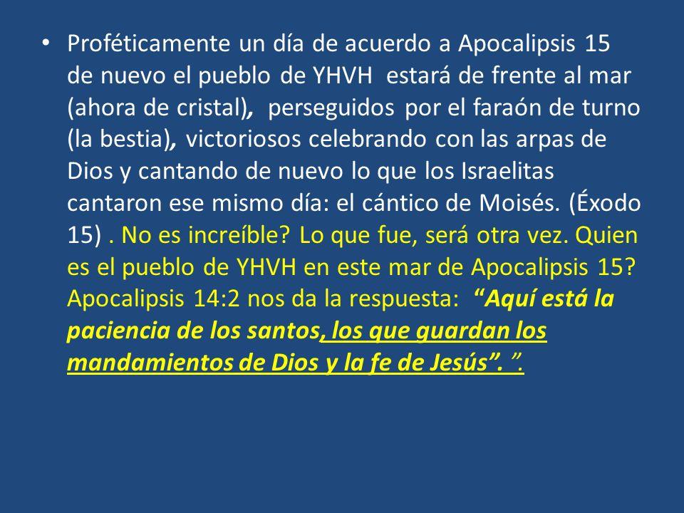 Proféticamente un día de acuerdo a Apocalipsis 15 de nuevo el pueblo de YHVH estará de frente al mar (ahora de cristal), perseguidos por el faraón de