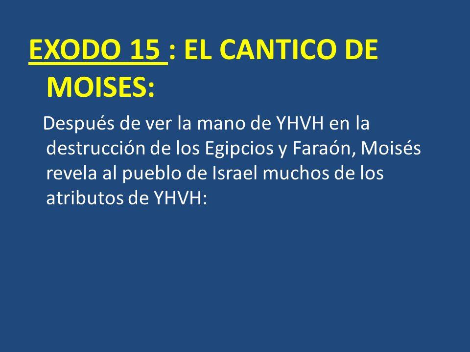 EXODO 15 : EL CANTICO DE MOISES: Después de ver la mano de YHVH en la destrucción de los Egipcios y Faraón, Moisés revela al pueblo de Israel muchos d