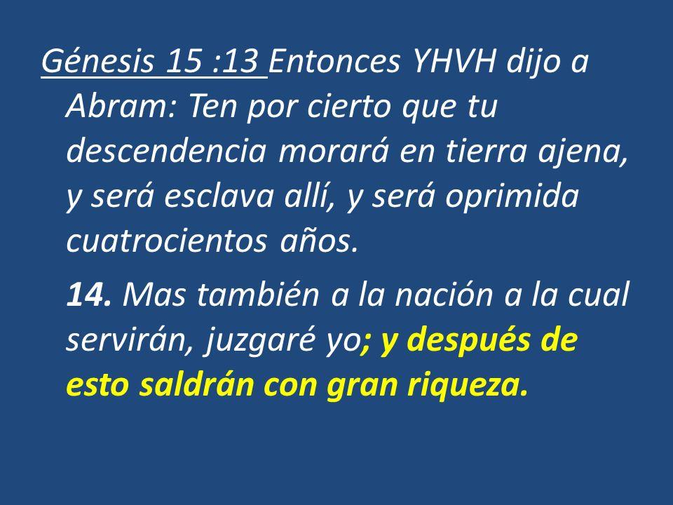 Génesis 15 :13 Entonces YHVH dijo a Abram: Ten por cierto que tu descendencia morará en tierra ajena, y será esclava allí, y será oprimida cuatrocient