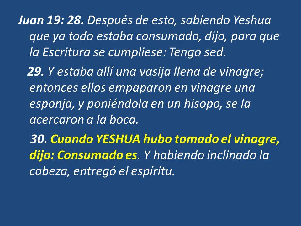 Juan 19: 28. Después de esto, sabiendo Yeshua que ya todo estaba consumado, dijo, para que la Escritura se cumpliese: Tengo sed. 29. Y estaba allí una