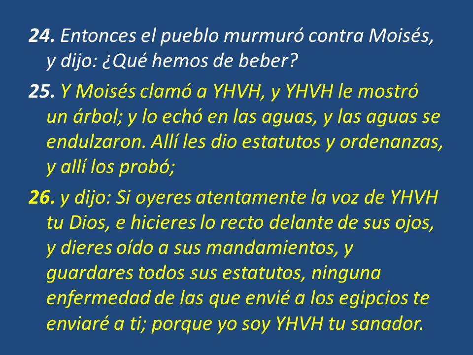 24. Entonces el pueblo murmuró contra Moisés, y dijo: ¿Qué hemos de beber? 25. Y Moisés clamó a YHVH, y YHVH le mostró un árbol; y lo echó en las agua