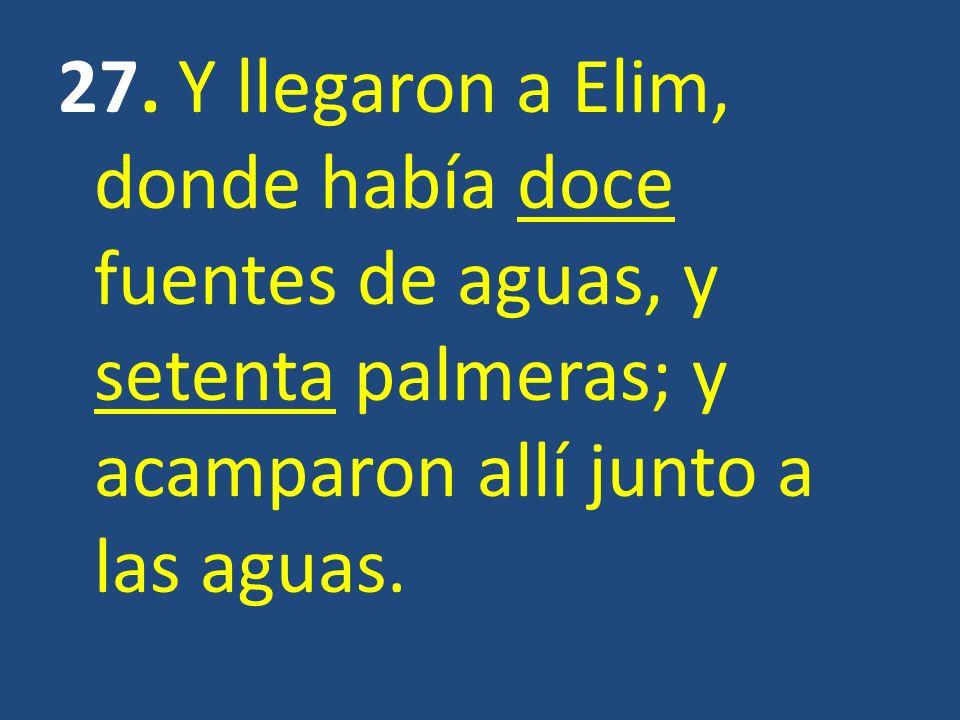 27. Y llegaron a Elim, donde había doce fuentes de aguas, y setenta palmeras; y acamparon allí junto a las aguas.