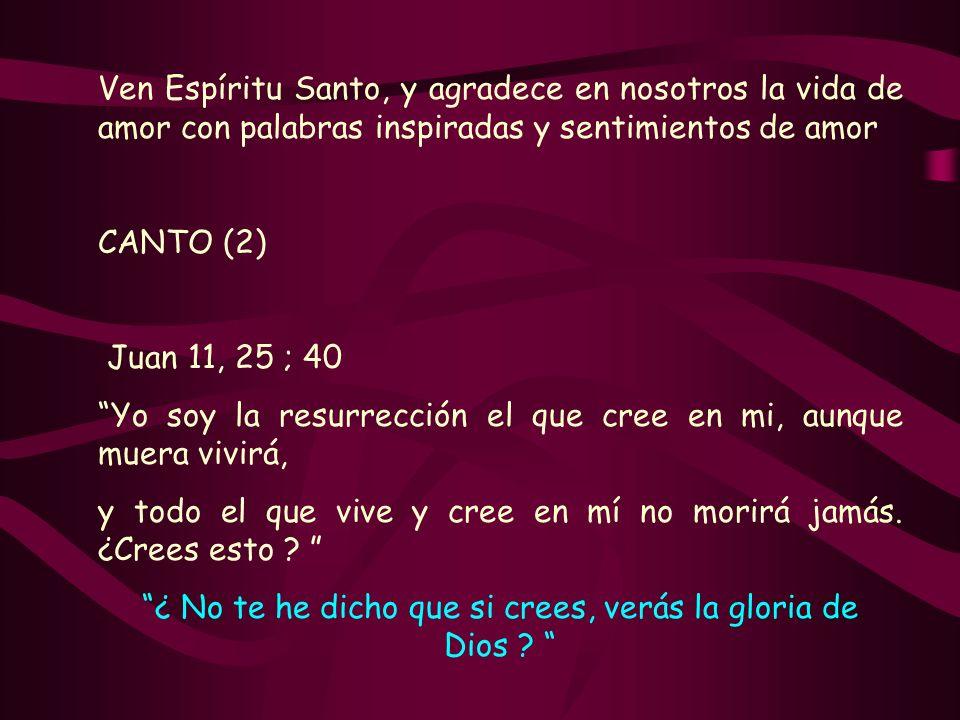 Ven Espíritu Santo, y agradece en nosotros la vida de amor con palabras inspiradas y sentimientos de amor CANTO (2) Juan 11, 25 ; 40 Yo soy la resurre