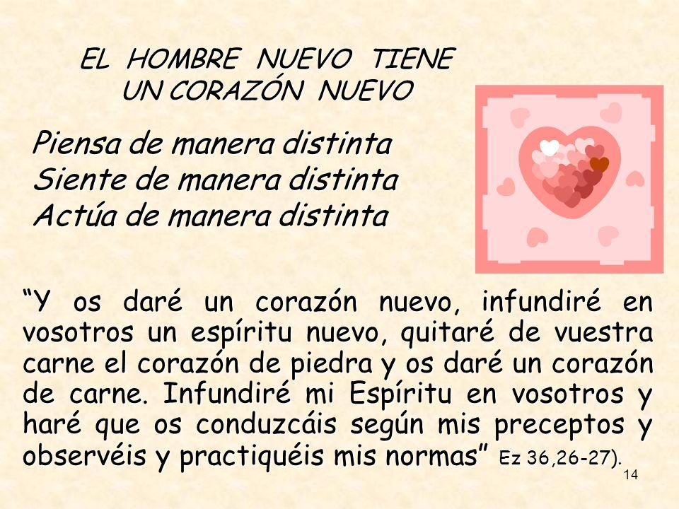 14 EL HOMBRE NUEVO TIENE UN CORAZÓN NUEVO Piensa de manera distinta Siente de manera distinta Actúa de manera distinta Y os daré un corazón nuevo, inf