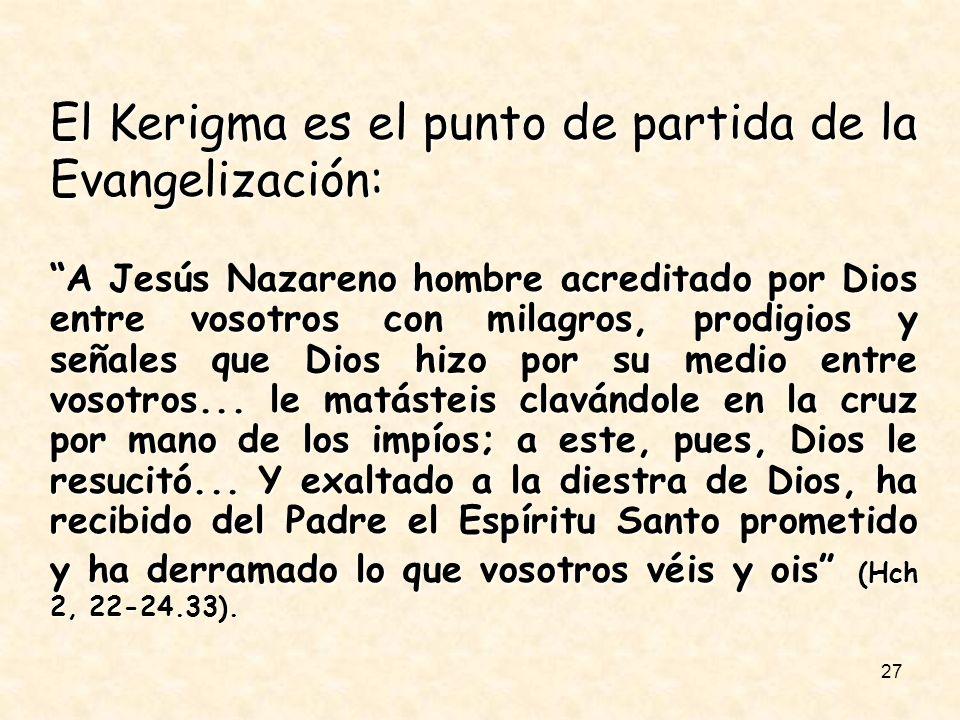 27 El Kerigma es el punto de partida de la Evangelización: A Jesús Nazareno hombre acreditado por Dios entre vosotros con milagros, prodigios y señale