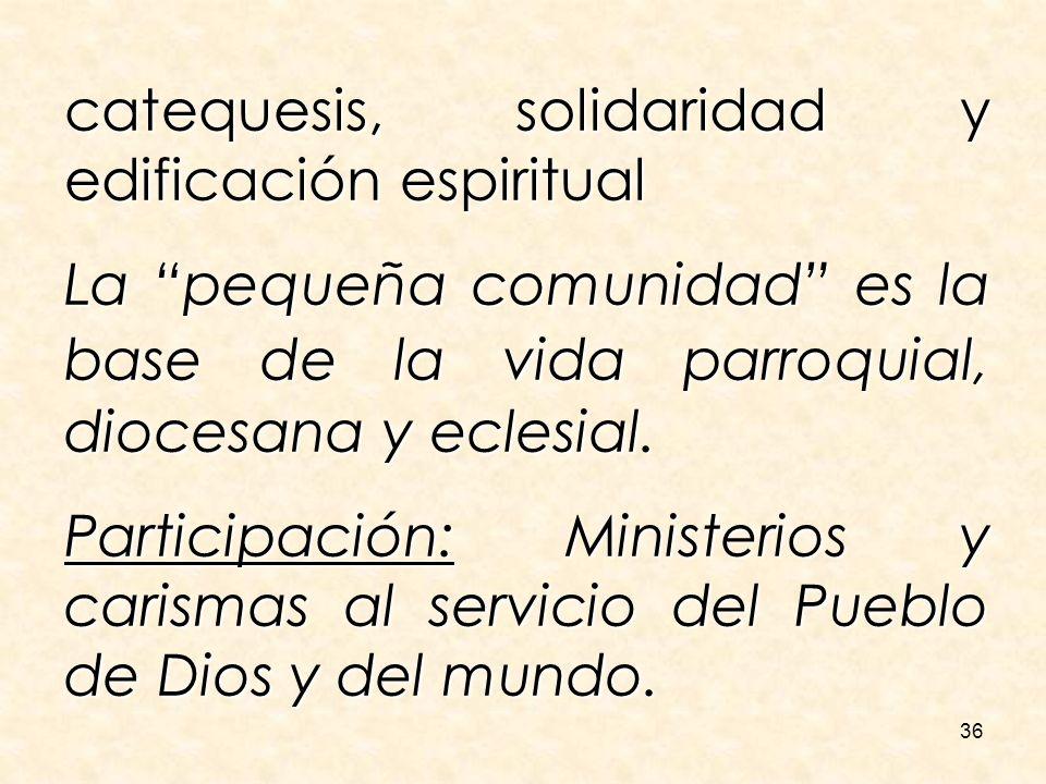 36 catequesis, solidaridad y edificación espiritual La pequeña comunidad es la base de la vida parroquial, diocesana y eclesial. Participación: Minist