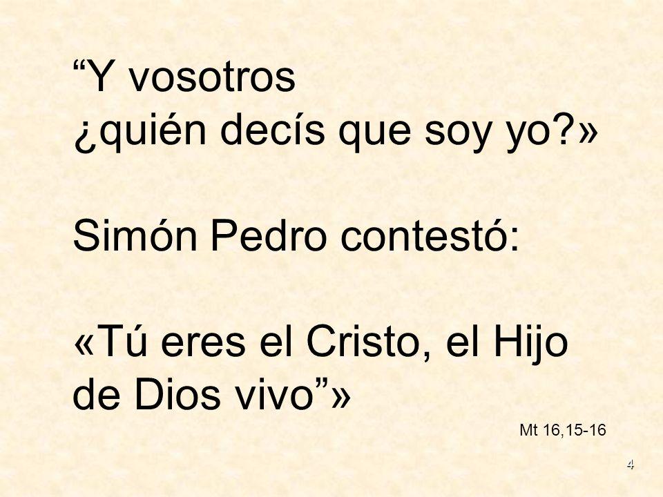 4 Y vosotros ¿quién decís que soy yo?» Simón Pedro contestó: «Tú eres el Cristo, el Hijo de Dios vivo» Mt 16,15-16
