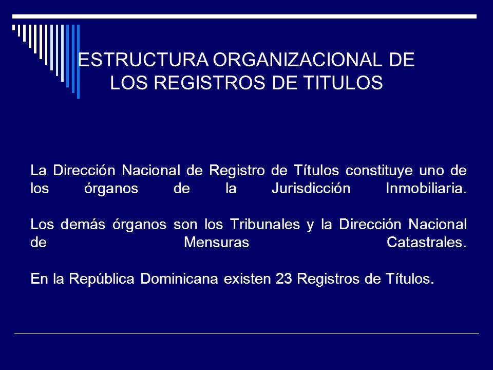 La Dirección Nacional de Registro de Títulos constituye uno de los órganos de la Jurisdicción Inmobiliaria. Los demás órganos son los Tribunales y la