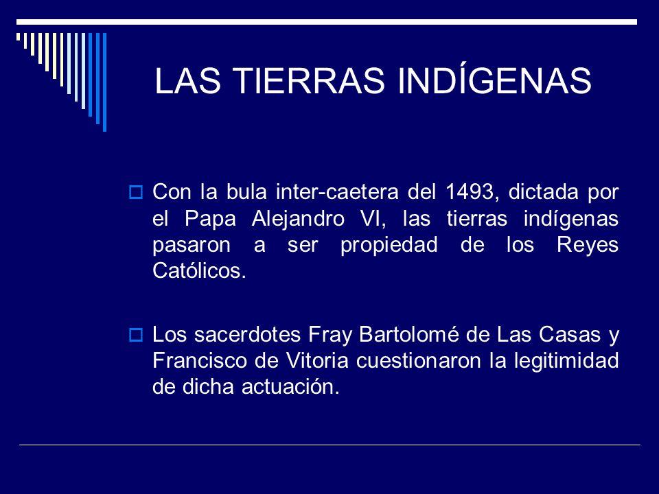 LAS TIERRAS INDÍGENAS Con la bula inter-caetera del 1493, dictada por el Papa Alejandro VI, las tierras indígenas pasaron a ser propiedad de los Reyes