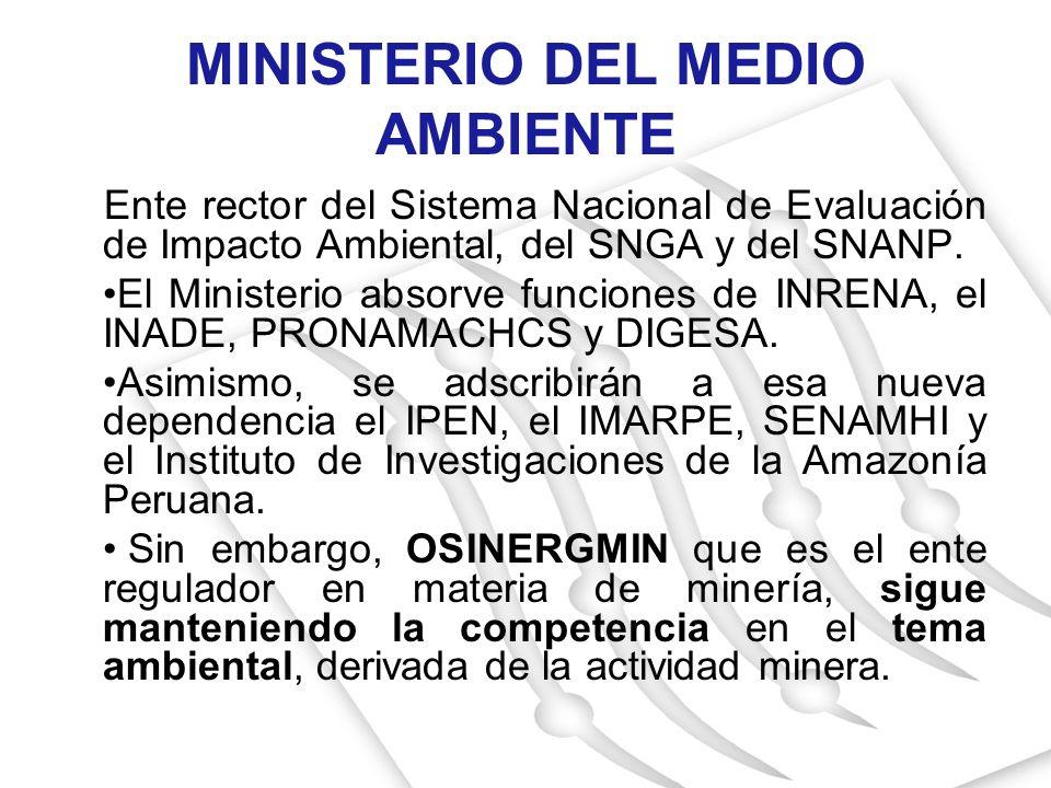 MINISTERIO DEL MEDIO AMBIENTE Ente rector del Sistema Nacional de Evaluación de Impacto Ambiental, del SNGA y del SNANP. El Ministerio absorve funcion