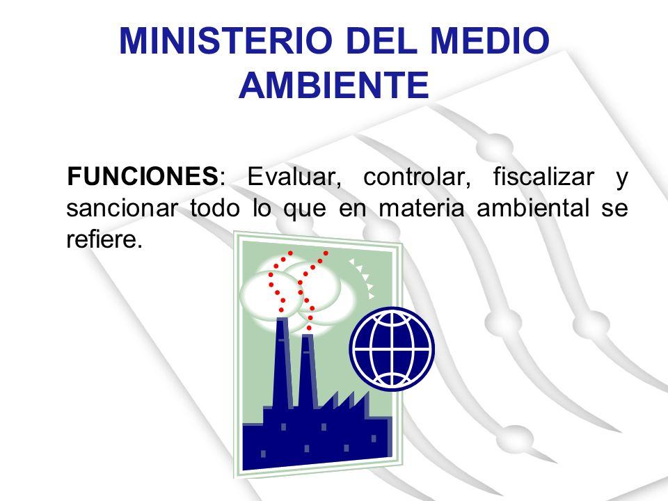 MINISTERIO DEL MEDIO AMBIENTE FUNCIONES: Evaluar, controlar, fiscalizar y sancionar todo lo que en materia ambiental se refiere.