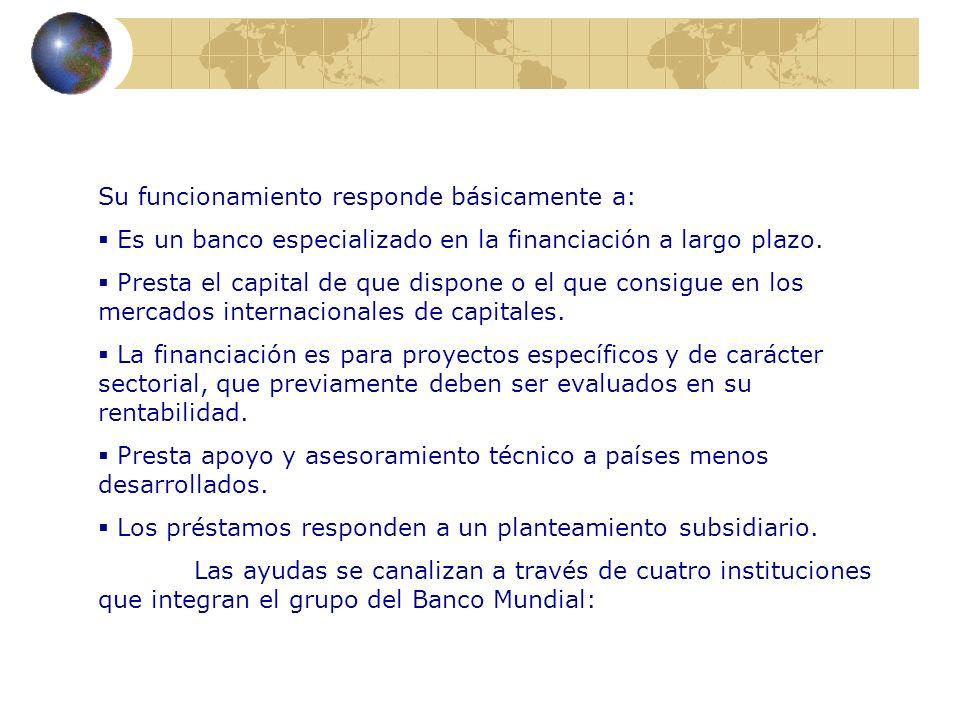 Su funcionamiento responde básicamente a: Es un banco especializado en la financiación a largo plazo. Presta el capital de que dispone o el que consig