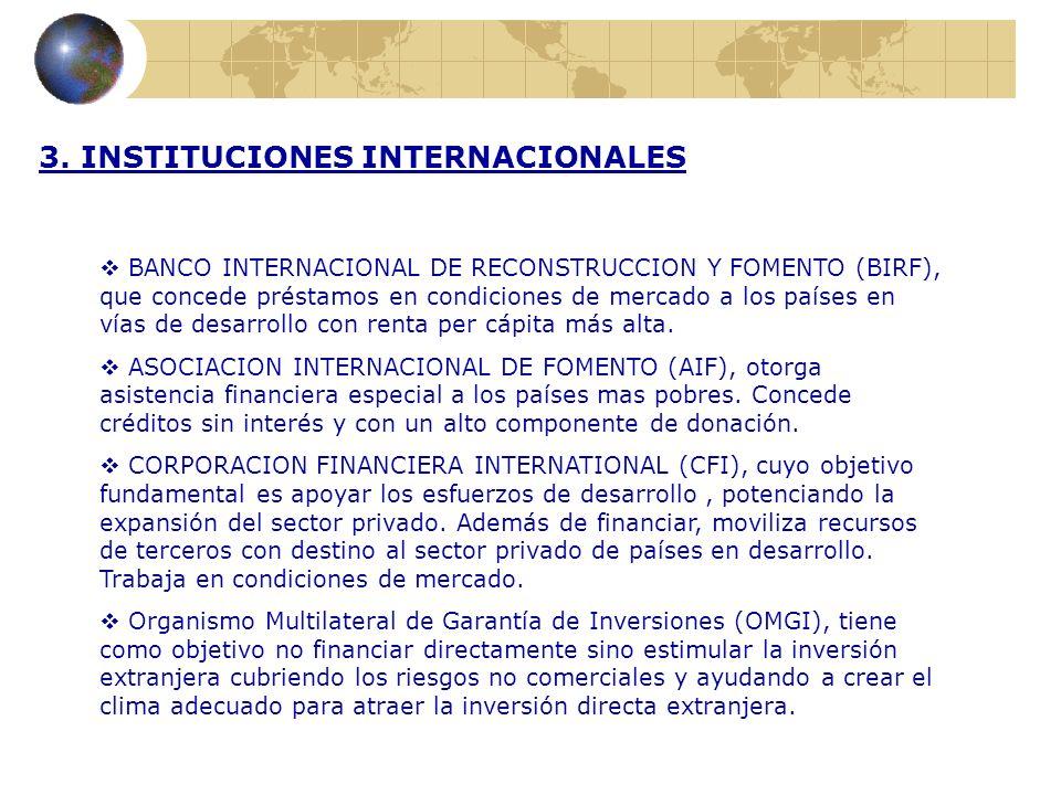 3. INSTITUCIONES INTERNACIONALES BANCO INTERNACIONAL DE RECONSTRUCCION Y FOMENTO (BIRF), que concede préstamos en condiciones de mercado a los países