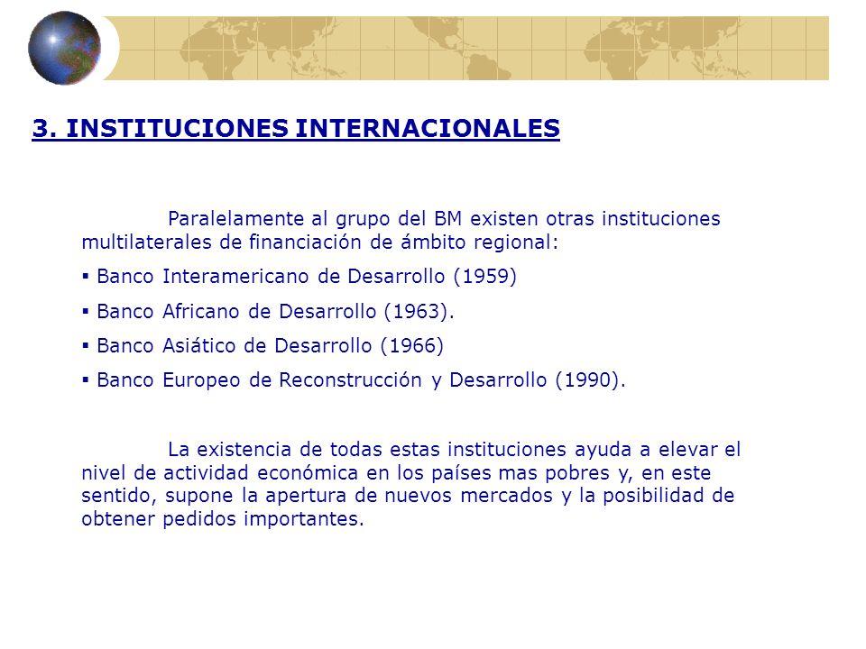 3. INSTITUCIONES INTERNACIONALES Paralelamente al grupo del BM existen otras instituciones multilaterales de financiación de ámbito regional: Banco In