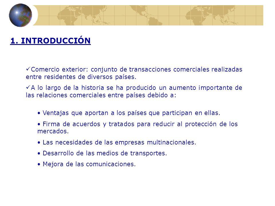 1. INTRODUCCIÓN Comercio exterior: conjunto de transacciones comerciales realizadas entre residentes de diversos países. A lo largo de la historia se
