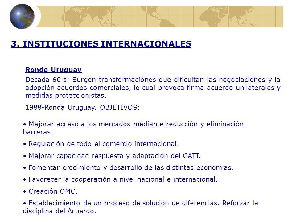 3. INSTITUCIONES INTERNACIONALES Ronda Uruguay Decada 60´s: Surgen transformaciones que dificultan las negociaciones y la adopción acuerdos comerciale