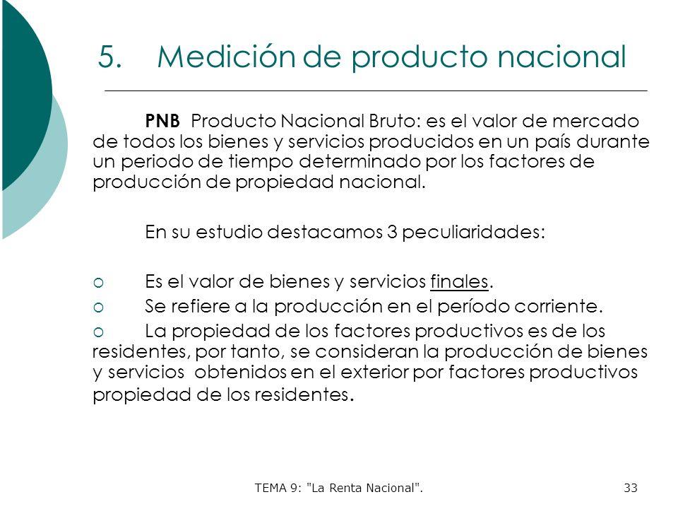 TEMA 9: La Renta Nacional .33 5.Medición de producto nacional PNB Producto Nacional Bruto: es el valor de mercado de todos los bienes y servicios producidos en un país durante un periodo de tiempo determinado por los factores de producción de propiedad nacional.