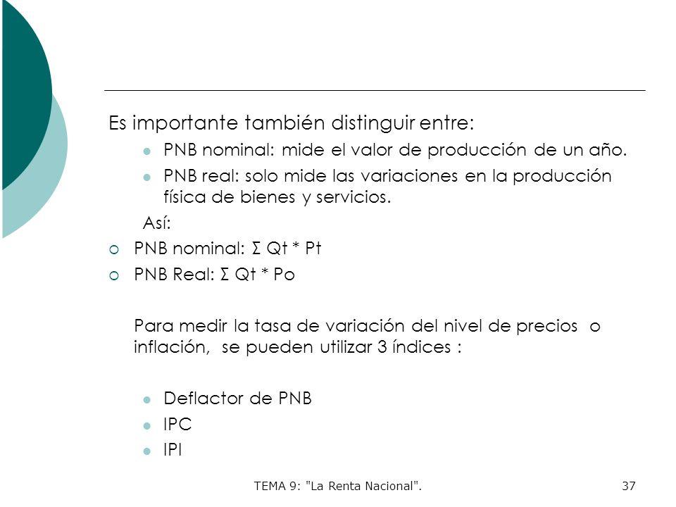 TEMA 9: La Renta Nacional .37 Es importante también distinguir entre: PNB nominal: mide el valor de producción de un año.