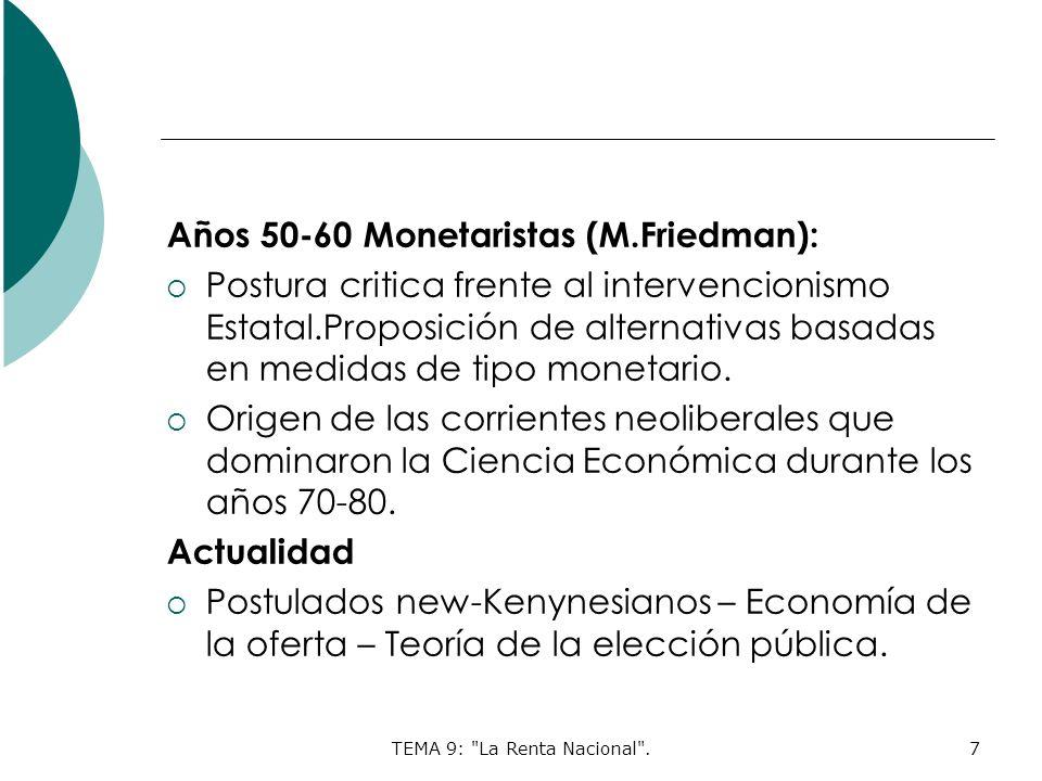 TEMA 9: La Renta Nacional .7 Años 50-60 Monetaristas (M.Friedman): Postura critica frente al intervencionismo Estatal.Proposición de alternativas basadas en medidas de tipo monetario.