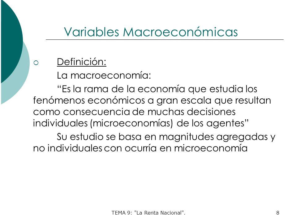 TEMA 9: La Renta Nacional .8 Variables Macroeconómicas Definición: La macroeconomía: Es la rama de la economía que estudia los fenómenos económicos a gran escala que resultan como consecuencia de muchas decisiones individuales (microeconomías) de los agentes Su estudio se basa en magnitudes agregadas y no individuales con ocurría en microeconomía